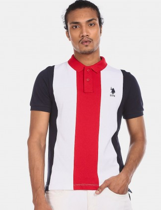 U S Polo Assn red and white stripe polo neck t-shirt