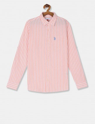 U S Polo Assn red casual wear stripe shirt