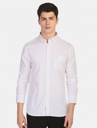 U S Polo Assn solid white slim fit shirt
