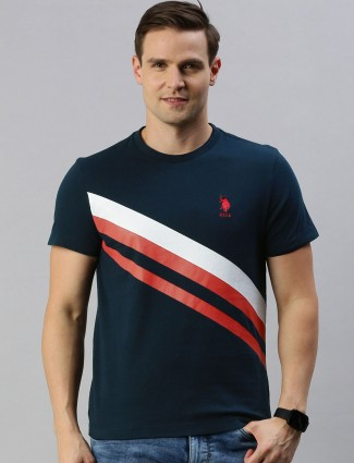 U S Polo Assn stripe rama green t-shirt