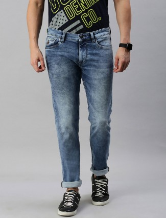 U S Polo Assn washed blue solid jeans