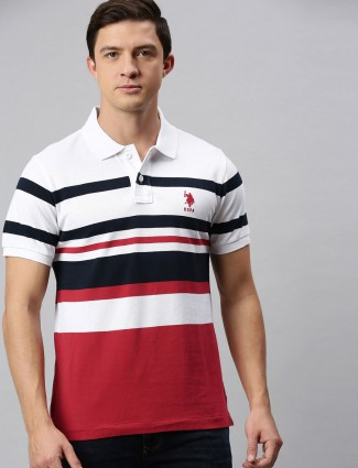 U S Polo Assn white and red stripe cotton t-shirt