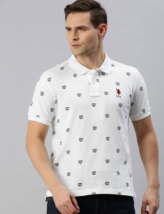 U S Polo Assn white printed cotton polo t-shirt