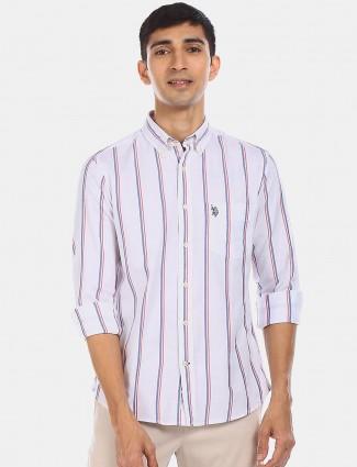 U S Polo Assn white stripe casual shirt