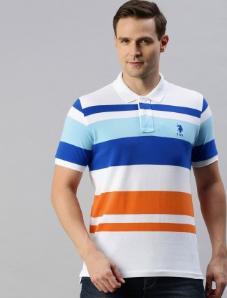 U S Polo Assn white stripe casual t-shirt