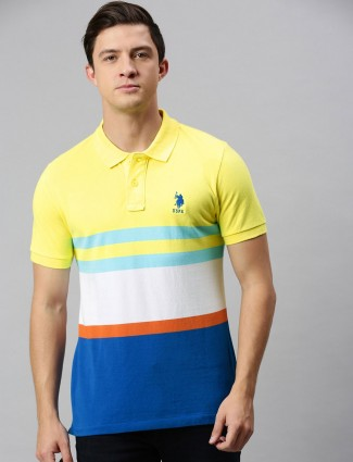U S Polo Assn yellow and blue stripe cotton t-shirt