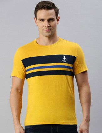 U S Polo Assn yellow stripe slim fit t-shirt