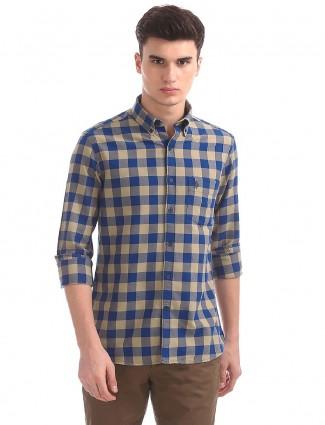 U S Polo beige and blue cotton shirt