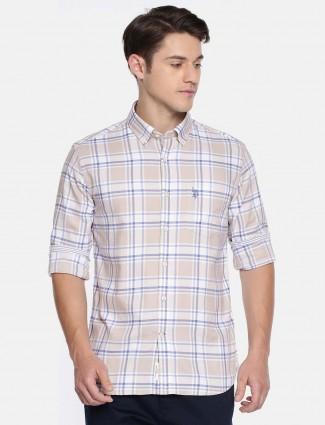 U S Polo beige checked cotton shirt