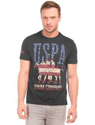 U S Polo black printed cotton t-shirt