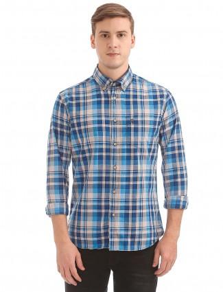 U S Polo blue and beige checks shirt