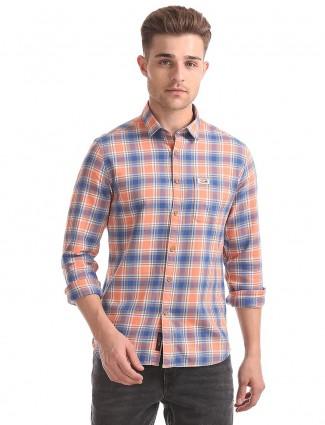 U S Polo blue and orange shirt