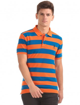 U S Polo blue and orange stripe t-shirt