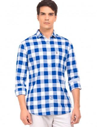 U S POLO blue and white checks shirt