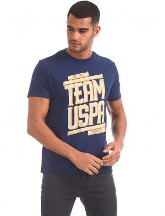 U S Polo blue casual printed t-shirt