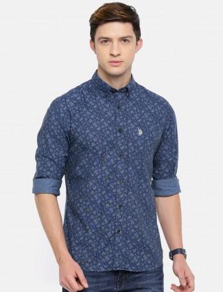 U S Polo blue printed shirt
