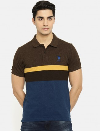 U S Polo brown and blue t-shirt