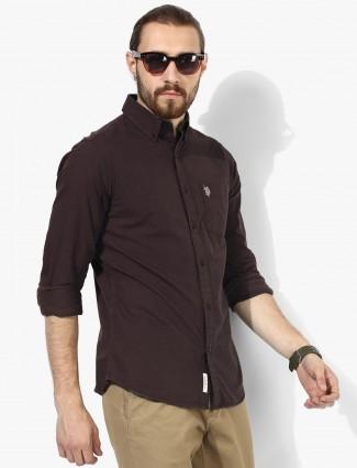 U S Polo brown color cotton shirt