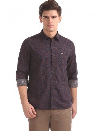 U S Polo brown printed shirt