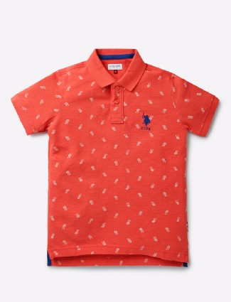 U S Polo casual peach t-shirt