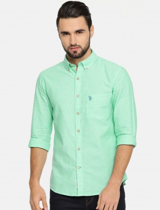 U S Polo casual sea green shirt