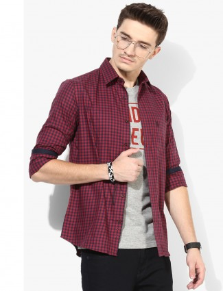 U S Polo checks maroon shirt