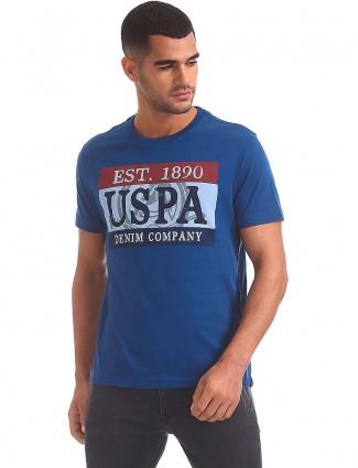 U S Polo cotton blue printed t-shirt