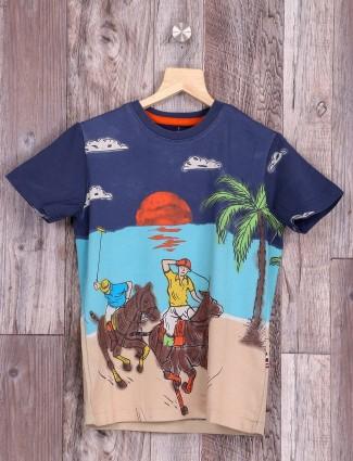 U S Polo cotton printed navy t-shirt