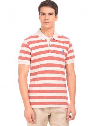 U S POLO cream and peach casual t-shirt