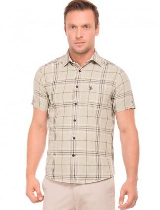 U S Polo cream checks shirt