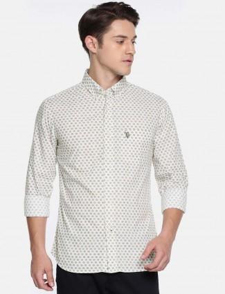 U S Polo cream cotton printed shirt