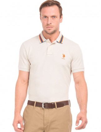 U S POLO cream solid casual t-shirt