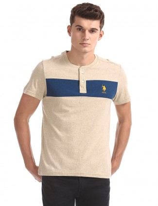 U S Polo cream solid t-shirt