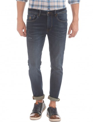 U S polo dark blue solid jeans