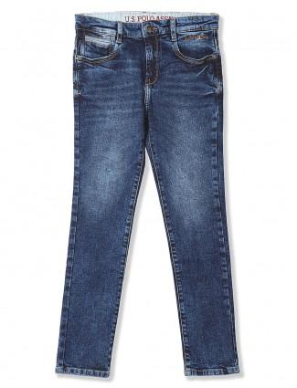 U S Polo denim solid blue hue jeans