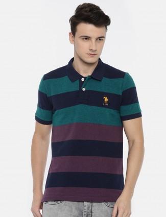 U S Polo green and purple t-shirt
