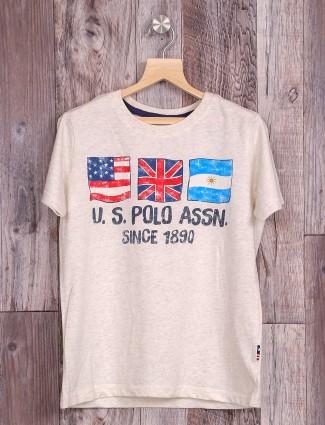 U S Polo grey color cotton t-shirt