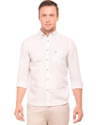 U S POLO light pink printed casual shirt