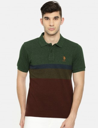U S Polo maroon and green t-shirt