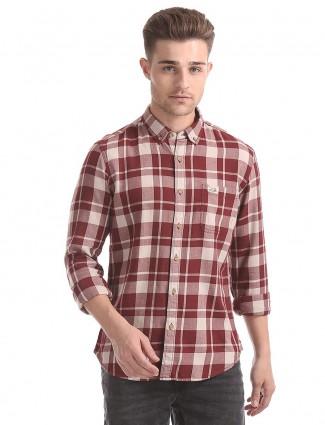 U S Polo maroon checks shirt