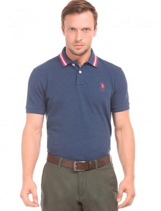 U S POLO navy hue plain slim fit t-shirt