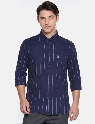 U S Polo navy striped pattern shirt