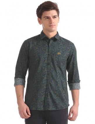U S Polo olive green printed shirt