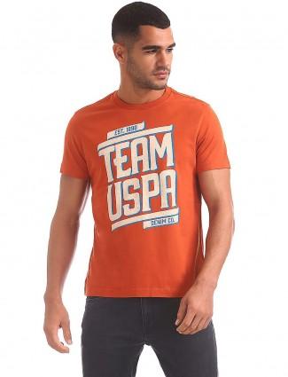 U S Polo orange casual printed t-shirt