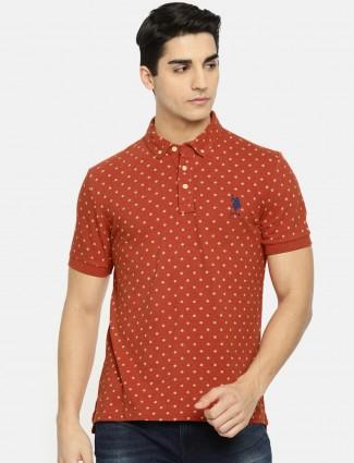 U S Polo orange cotton t-shirt