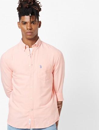 U S Polo peach color cotton shirt