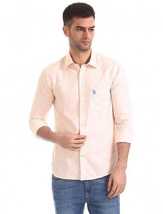 U S Polo peach hued solid shirt