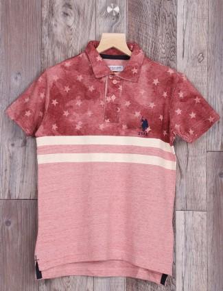 U S Polo pink cotton fabric polo t-shirt