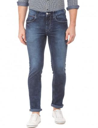U S Polo plain denim jeans in blue color