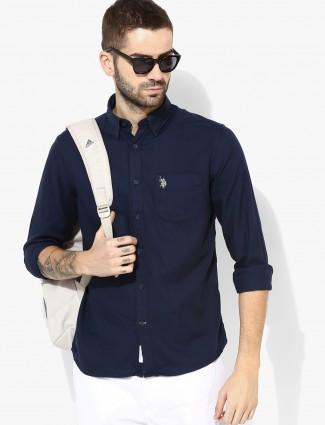 U S Polo plain navy hue cotton shirt